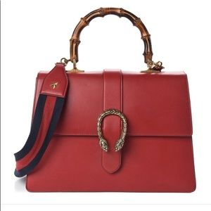 Gucci Dionysus Bamboo Top Handle Bag Red Leather
